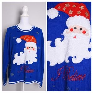 "Sweaters - ""I Believe"" Santa Tacky Ugly Christmas Sweater"